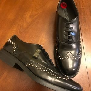 New Boemos Italian Leather Studded Oxford Wingtips